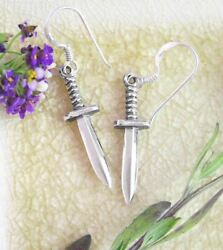 Athame Hook Dangle Earrings Dagger Knife Wicca Wiccan Pagan Altar Magick Wh175