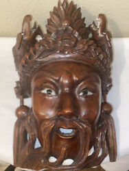 Chinese Wooden Mask With Two Dragons With Teethhand Carved-rare