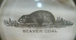 Beaver Coal Old Brass Advertising Tray Cigar Ashtray Tip Card Trinket Gas Oil Ad