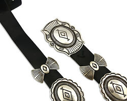 Navajo Concho Belt .925 Silver Hand Stamped Artist Signed R. Martinez C.80and039s