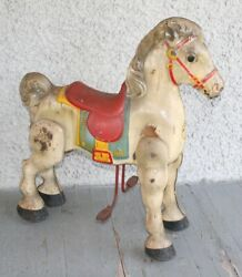 Antique Mobo Pedal Riding Horse. Pressed Steel Metal Mechanical Toy England