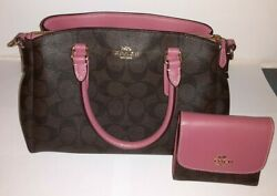 Coach Mini Sage Carry All Handbag With Wallet Pink and Brown Designer Purse $149.99