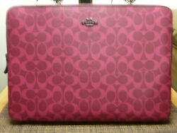 Coach F 91685 Laptop Sleeve In Signature Canvas Magenta Nwt