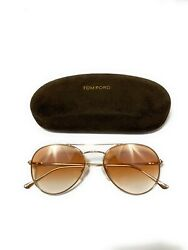 Tom Ford Unisex Aviator Shiny GoldBrown Mirror Sunglasses ACE-02 TF551 FT 28G