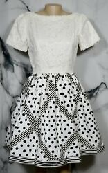 BILL BLASS EVENING White Black Short Sleeve Dress 10 Lace Bodice Dot Stripe Skrt $99.99
