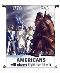 Americans Will Always Fight For Liberty Picture On Canvas Hung On Copper Rod, Re