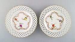 Two Antique Meissen Plates In Pierced Porcelain With Hand-painted Floral Motifs.