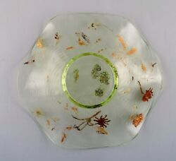Emile Gallandeacute France. Antique Bowl In Mouth-blown Art Glass . 1870/80and039s
