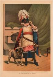 PUG DOG PLAYING SOLDIER with GIRL antique chromolithograph original 1886