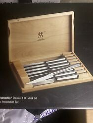 Zwilling J.a. Henckels 8 Piece Stainless Steel Steak Knife Set And Wooden Case