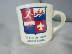 Vintage Boy Scout Coffee Mug Go With The Action Longhorn Council With Free Shipp