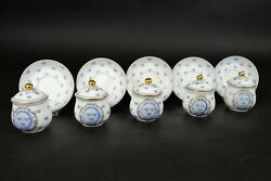 Vintage Sweden Rorstrand Set Of 5 Blue And White Armorial Cup And Saucers