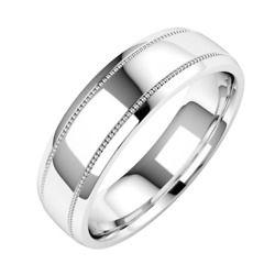 Mens Wedding Band Platinum 6mm Mill-grained Detail With A Highly Polished Finish