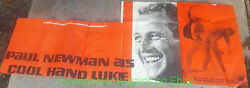 Cool Hand Luke Movie Poster Paul Newman Rare Paper Banner 29x77 Inch Damaged