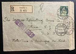 1916 Leysin Switzerland Censored Registered Cover To Savage Repeating Arms Usa