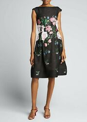 NEW $6000 Oscar de la Renta Floral Embroidered Fil Coupe Dress Black Size 4 US