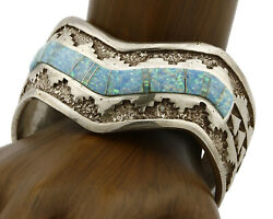 Womenand039s Navajo Opal Bracelet .925 Silver Signed Calvin Begay Cuff Circa 80and039s