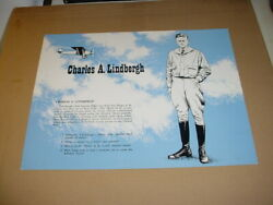 Rare 1970 Charles Lindbergh 14 X 11 Learning/reading Card Chicago Il.