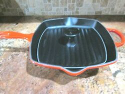 Le Creuset Enameled Cast Iron Cerise Red Ombre Sq Skillet Grill And Panini Press