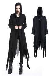 Womenand039s Long Black Distressed Hooded Raggedy Goth Witch Jacket Spring Fall Coat