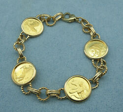 4 Singapore 5 Sg Lunar Years Of .9999 Fine Gold Coins Bracelet 14k Yellow Gold