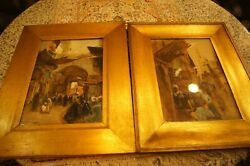 Pair Of Oil Painting Of Cairo Street On Board Gold Frame W/glass 1899 Signed