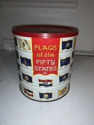 Vintage 1970 Hills Brothers Flags Of The 50 Fifty States Tin Coffee Can