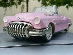 Vintage Buick 1950 Or Cadillac Tin Toy Metal Friction Powered For Parts Restorat