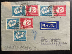 1951 Leipzig East Germany Ddr Cover To Brooklyn Usa Winter Olympics Issue Stamp