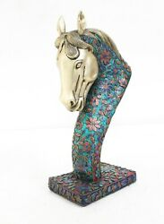 Horse Statue Royal Lapis Turquoise Coral Work Brass Decorative Collectible