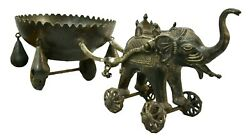 Handcrafted Antique Brass Elephant Cart Statue Temple Toy Unique Indian Decor