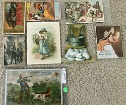 8 Piece Lot Of Coffee And Tea Victorian Trade Cards Bacon Stickney, Lion, Aandp Etc
