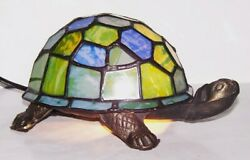 LOVELY TIFFANY STYLE STAINED GLASS TURTLETORTOISE ACCENT LAMP NIGHT LIGHT