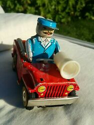 Vintage Fire Truck Chief 653 Ms 884 China Wind Up 1960's Car Tin Toy Works Parts