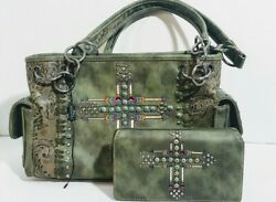 Montana West Aztec Design Matching Purse & Wallet conceal To Carry  $54.97