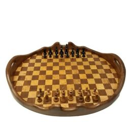 Vintage Wooden Chess Set W/board Room Service Tray Dual-sided 24x20x3