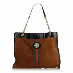 Gucci Rajah Brown Suede Web Stripe Tiger Large Maxi Leather Tote Bag 537218 $2,895.00
