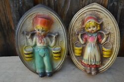 Vintage Lot Mid Century Dutch Boy Girl Carrying Pail Chalkware Wall Hanging