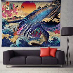 Sunset Tapestry 3D Great Japanese Sea Ocean Wave Whale Wall Hanging Home Decor