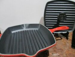 Le Creuset Enameled Cast Iron Red Ombre Square Grill Skillet And Panini Press