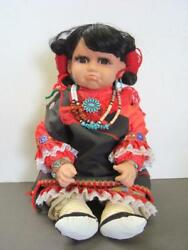 Pouting Native American Indian Girl Doll W Nice Jewelry + Porcelain Head + Hands