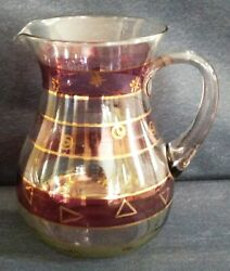Vintage 2½-quart Clear Glass Beverage Pitcher Striped In Burgundy And Gold