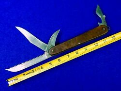 Vintage German Or Russian Large Military Army Folding Pocket 4 Blade Knife