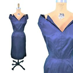 Vintage 1950s Bombshell Navy Blue Winged Bodice Cocktail Dress | W 24