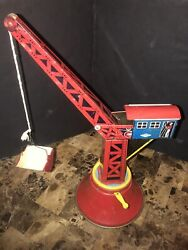 Vintage Tin Lithograph Wind Up Wolverine Crane Tower Construction Toy Usa Rare