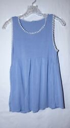 D.S. Kate Small Light Blue Tank Top with Tassels $5.07