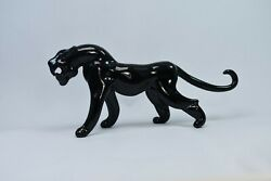 Panther Black Figurine of Blown Glass Crystal