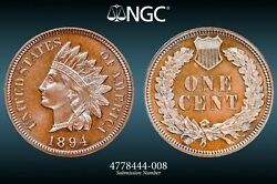 1894 1c Proof Indian Head Cent Ngc Pf 65 Bn Uncirculated Beautifully Toned Pr...