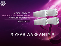 4-pack 72w 4 Foot Vapor Water Tight Surface Led Fixture 6500k Shop Light New