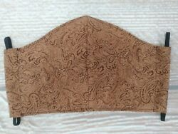 New TOOLED LEATHER LOOK WESTERN Designer Adult Face Mask Cotton Washable Pocket  $12.99